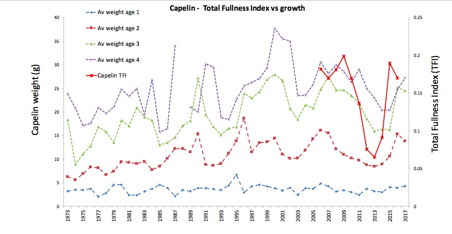 Figure 4.1.2 Growth (weight at age from ecosystem survey) and stomach fullness (TFI) of capelin in 1973-2017