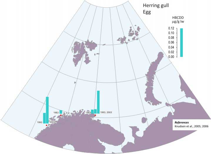 Levels of egg-HBCDD in Herring gull.