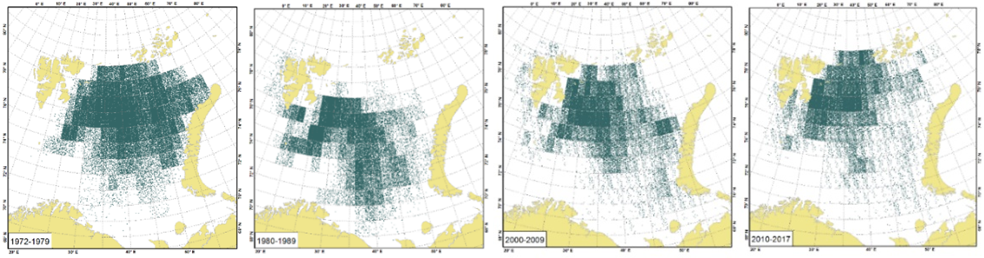 Figure 3.5.11a. Estimated capelin biomass during August-September by decade (1970s, 1980s, 1990s, 2000s, and 2010s). Biomasses presented for World Meteorological Organization (WMO) squares system of geocodes which divide areas into latitude-longitude grids (1° latitude by 2° longitude). One dot is equal to 500 tonnes.
