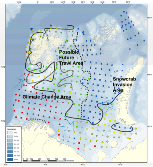 "Figure 3.4.1.2 The baseline map of the Barents Sea mega‐benthic zones in 2011, based on fauna similarity (see Jørgensen et al., 2015 for methodology, results and discussion) with the northern (green and blue) and southern (yellow and red) region where the black full line is illustrating the ""benthic polar front"" in 2011. The grey full line is the approximately oceanographic Polar Front. Dotted line: Is partly illustrating a west‐east division. Red: South West subregion (SW) Yellow: Southeast, banks and Svalbard coast (SEW). Green: North West and Svalbard fjords (NW). Blue: North East (NE). Source: IMR."