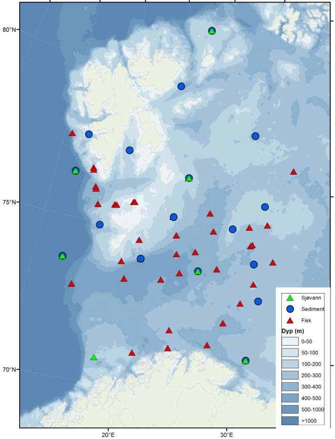 Figure 3.9.6.2. IMRs sampling stations in 2015 for sediment (blue circles), seawater (green triangles) and fish and other biota (red triangles).