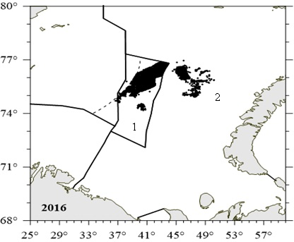 Figure 3.9.2.5. Russian fishery of the snow crab location in the Barents Sea in the international waters in 2013-2016 (1) and nationality waters in 2016 (2) (Bakanev and Pavlov, 2017)