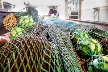Shrip trawl on deck about to go out. Photo: Kristin Heggland